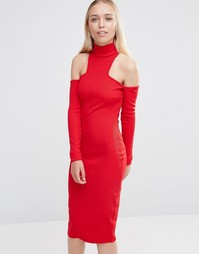 Платье миди с открытыми плечами и высоким воротом City Goddess - Красный