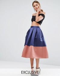 Юбка миди для выпускного с контрастной вставкой Closet - Темно-синий