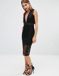 Платье с кружевными вставками и V‑образным вырезом спереди Boohoo - Черный