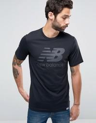 Черная футболка с классическим логотипом New Balance MT63554_BK - Черный