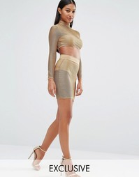 Полупрозрачная юбка‑карандаш цвета металлик NaaNaa - Золотой