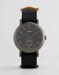 Большие черные часы с хронографом Timex Weekender - Черный