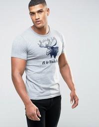 Серая футболка слим с вышивкой Abercrombie & Fitch - Серый