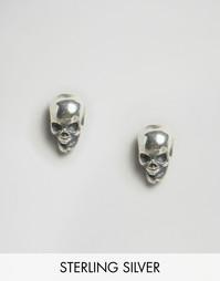 Серебряные серьги-гвоздики с черепом Regal Rose Edie - Серебряный