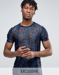 Кружевная футболка Reclaimed Vintage - Синий