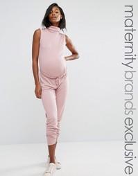 Мешковатый комбинезон для беременных с высоким воротом в рубчик Missguided Maternity - Фиолетовый