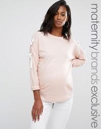 Свитшот для беременных со шнуровкой на рукавах Missguided Maternity - Розовый