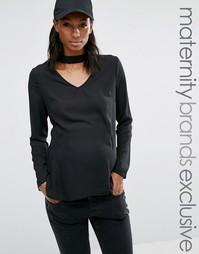 Шифоновый топ для беременных с чокером и глубоким вырезом Missguided Maternity - Черный