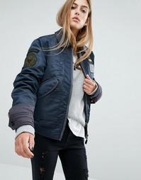 Куртка-пилот в стиле oversize c двухслойным воротником и нашивками Schott - Темно-синий