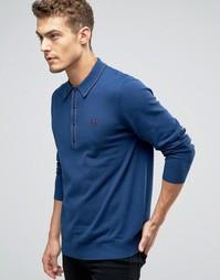 Трикотажная футболка-поло с длинными рукавами Fred Perry Laurel Wreath - Темно-синий