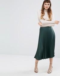 Плиссированная юбка миди из атласного крепа Miss Selfridge - Зеленый