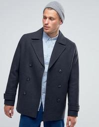Серое полушерстяное пальто-бушлат ASOS - Серый