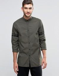 Удлиненная рубашка цвета хаки с полосками ASOS - Белый