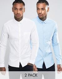 2 оксфордские рубашки (белая/голубая) ASOS - СКИДКА 12 - Мульти