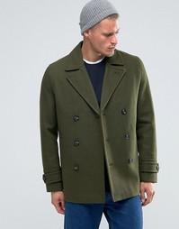 Полушерстяное пальто‑бушлат цвета хаки ASOS - Зеленый