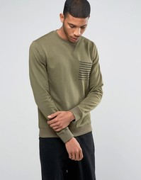 Трикотажный джемпер с круглым вырезом и карманом Troy - Зеленый