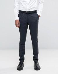 Чесаные брюки скинни в однотонную клетку Selected Homme - Серый