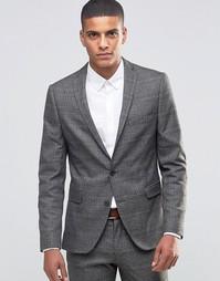 Облегающий блейзер из эластичной ткани Selected Homme Prince of Wales - Коричневый