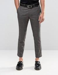 Укороченные эластичные брюки скинни в клетку Selected Homme - Коричневый