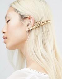 Гребень для волос с кристаллами Swarovski Krystal Marquise - Золотой