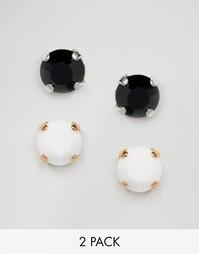 Набор из 2 пар серег-гвоздиков с кристаллами Swarovski Krystal - Черный