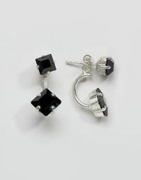 Кубические серьги с кристаллами Swarovski от Krystal - Черный