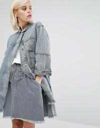 Джинсовое пальто в полоску с необработанным краем House of Holland x Lee - Мульти