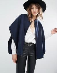 Пальто в стиле кейпа с декоративной строчкой Suncoo Edna - Темно-синий