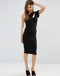 Асимметричное платье миди с вырезом на плече Oh My Love - Черный