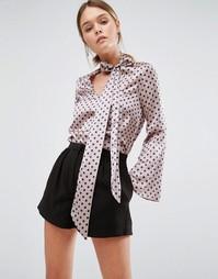 Шелковая блузка с бантом и рукавами-клеш Closet - Серый