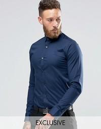 Стретчевая рубашка скинни Only & Sons - Темно-синий