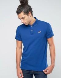 Синее стретчевое поло узкого кроя из ткани пике с логотипом Hollister - Синий