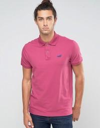 Стретчевое поло узкого кроя с логотипом Hollister - Розовый