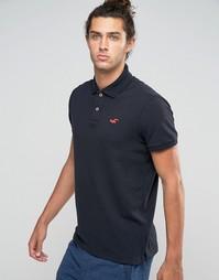 Черное стретчевое поло узкого кроя из ткани пике с логотипом Hollister - Черный