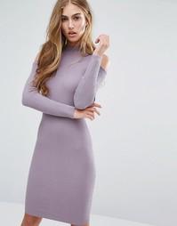 Облегающее платье в рубчик с вырезами на плечах Miss Selfridge - Фиолетовый