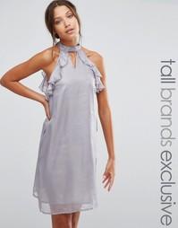 Цельнокройное платье с оборками на рукавах True Decadence Tall - Серебряный
