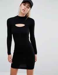 Платье мини в рубчик Miss Selfridge - Черный