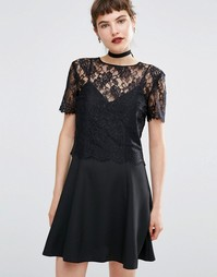 Кружевное платье 2 в 1 с бретельками Miss Selfridge - Черный