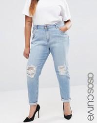 Светлые рваные джинсы бойфренда ASOS CURVE Kimmi Esme - Синий