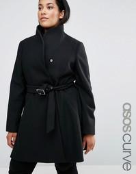 Короткое приталенное пальто с воротником‑труба ASOS CURVE - Черный