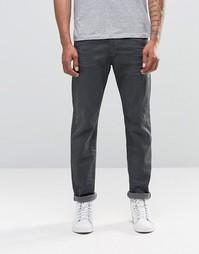Серые джинсы слим с потертостями Diesel Belther 675B - Серый