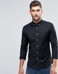 Черная оксфордская рубашка облегающего кроя ASOS - Белый