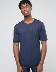 Меланжевая футболка с необработанной горловиной Sisley - Темно-синий