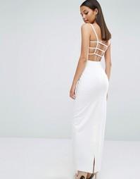 Платье макси с решеткой из бретелек сзади AQAQ Maier - Кремовый
