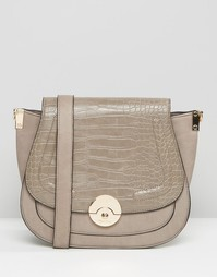Большая сумка с эффектом крокодиловой кожи Dune - Серый