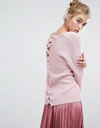Джемпер с решеткой из лямок сзади Miss Selfridge - Розовый