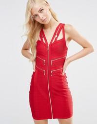 Бандажное платье с молниями Forever Unique Marla - Красный