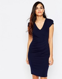 Платье-футляр с драпировкой спереди Jessica Wright Aliz - Темно-синий