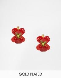 Серьги-гвоздики в виде цветочков Les Nereides - Красный