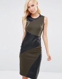 Платье миди в кожаном стиле со вставками Forever Unique Maeve - Зеленый